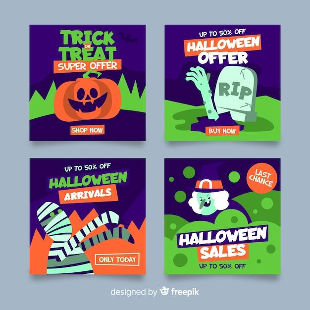 Halloween criaturas instagram pós coleção Vetor grátis