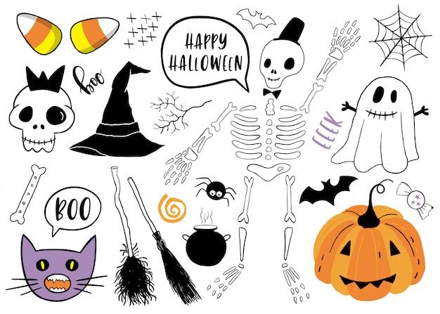 Halloween em conjunto com elementos. Vetor Premium