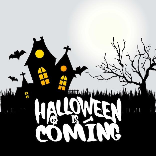 Halloween está chegando tipografia com design criativo Vetor Premium