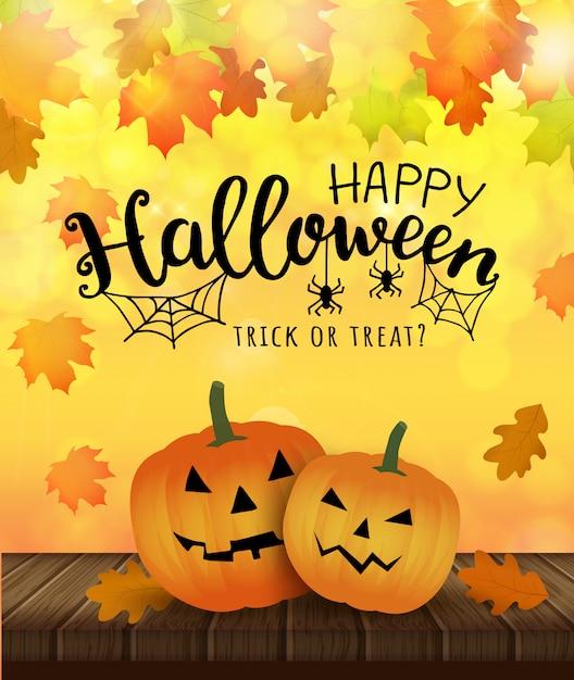 Halloween feliz ilustração de trick ou treatю com abóboras e web e aranha. Vetor Premium