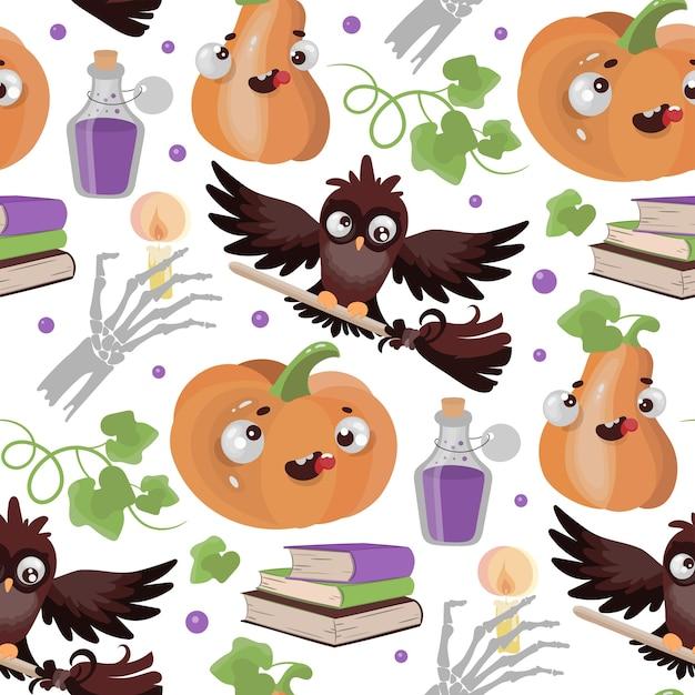 Halloween owl pumpkin funny cartoon hand drawn seamless pattern Vetor Premium