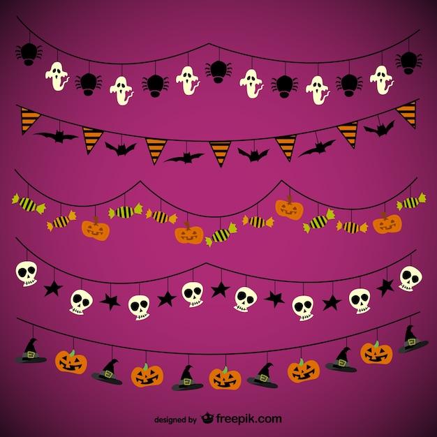 Halloween pacote guirlandas Vetor grátis