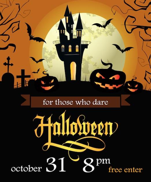 Halloween, para aqueles que ousam rotulação com data e abóboras Vetor grátis