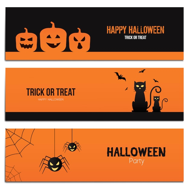 Hallowen banners Vetor Premium