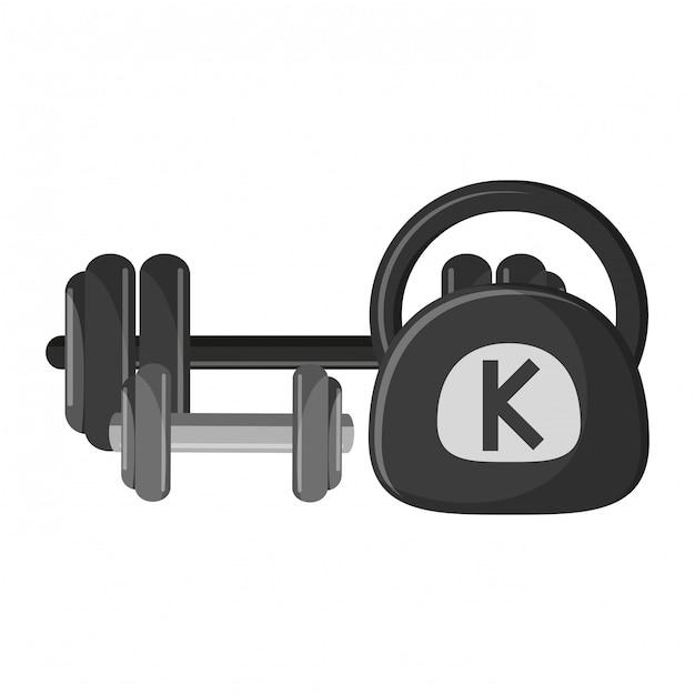 Haltere de haltere de ginásio e kettlebell Vetor Premium
