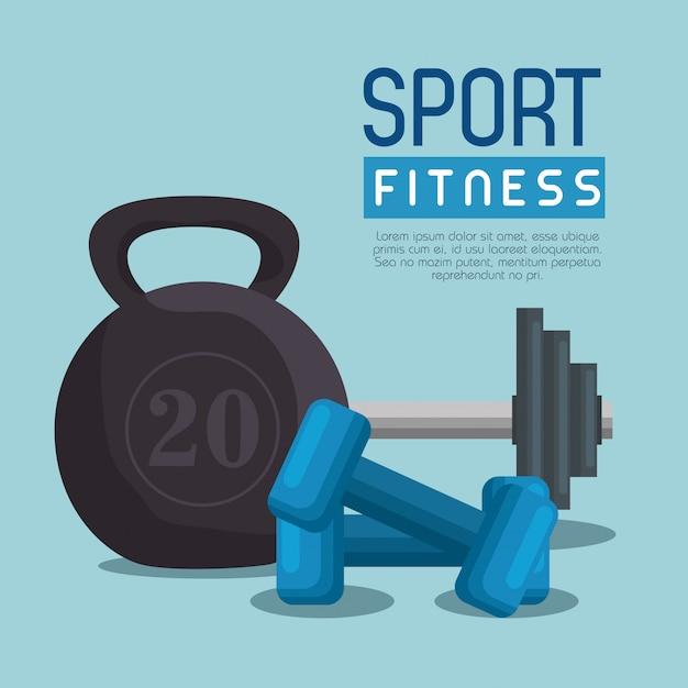 Halteres de levantamento de peso esporte fitness Vetor grátis