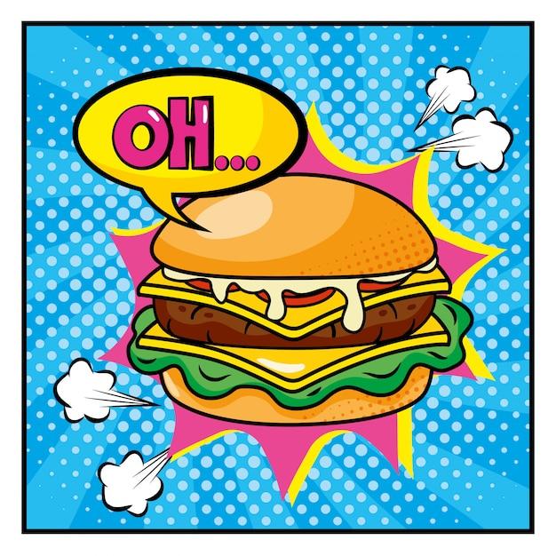Hambueger com oh estilo de mensagem de pop art Vetor Premium