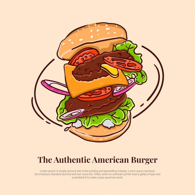 Hambúrguer americano voador com salada de cebola de carne mostarda de queijo de tomate Vetor Premium