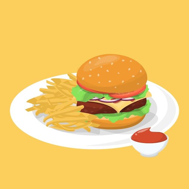 Hambúrguer, batata frita e ketchup no prato Vetor Premium