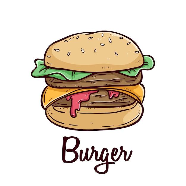 Hambúrguer de fast-food delicioso com texto e usando estilo doodle colorido sobre fundo branco Vetor Premium