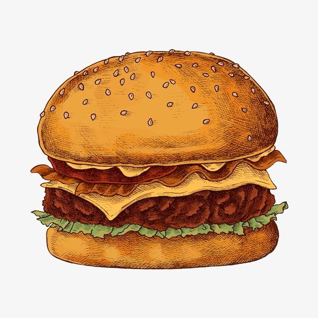 Hambúrguer de queijo desenhado à mão Vetor grátis