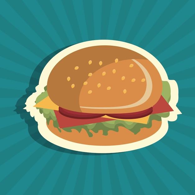 Hambúrguer fast food design isolado Vetor Premium