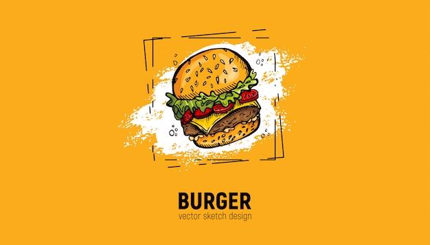 Hambúrguer pintado à mão Vetor Premium
