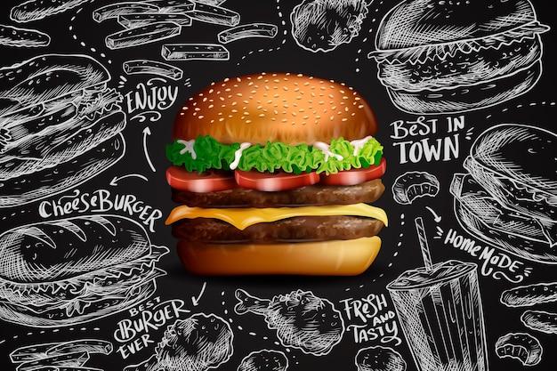 Hambúrguer realista no fundo do quadro Vetor grátis