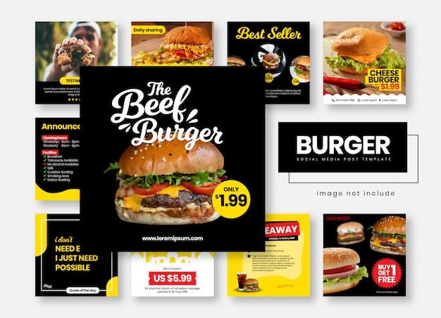 Hambúrguer restaurante comida mídias sociais postar banners de modelo Vetor Premium