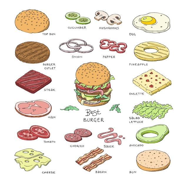 Hambúrguer vector fast-food hambúrguer ou cheeseburger construtor com ingredientes carne pão tomate e queijo ilustração fastdood sanduíche ou bife hamburguer conjunto isolado no fundo branco Vetor Premium