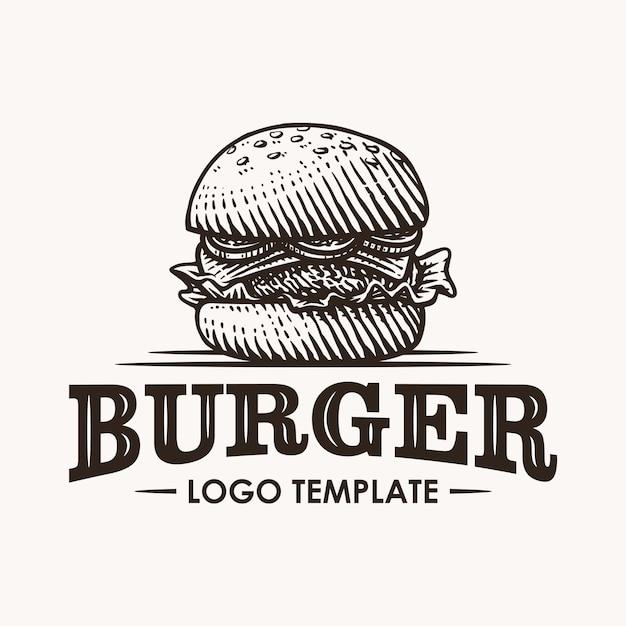 Hambúrguer vintage mão desenhada ilustração do logotipo Vetor Premium