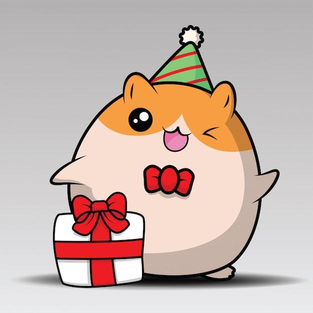 Hamster bonito sentar e sorrir Vetor Premium