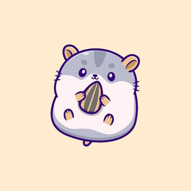 Hamster fofo comendo semente de girassol Vetor grátis