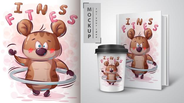 Hamster gira uma ilustração de aro e merchandising Vetor Premium