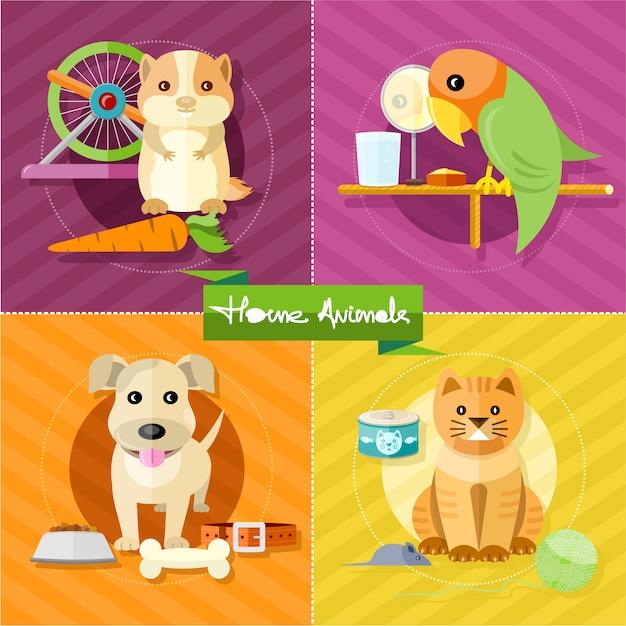 Hamster, papagaio, gato e cachorro Vetor Premium