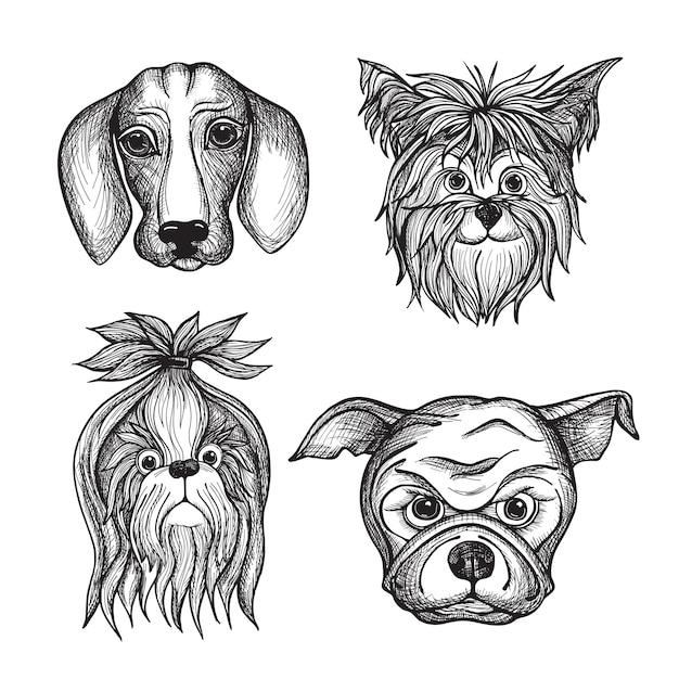 Hand drawn dog faces set Vetor Premium