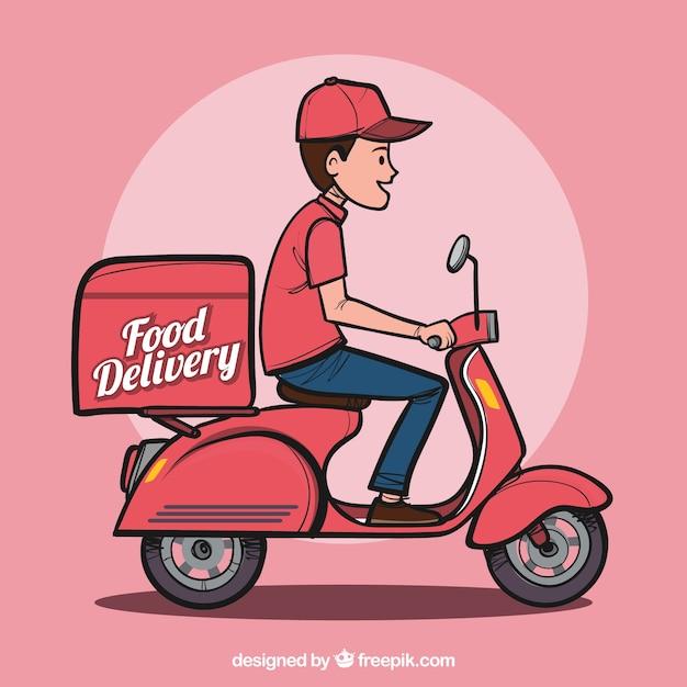 Hand drawn food delivery man Vetor grátis