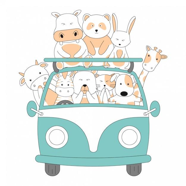 Hand drawn friendship ride car juntos bonito dos desenhos animados de animais Vetor Premium