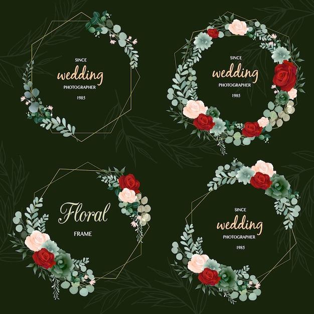 Hand drawn leaf wreath logo design Vetor Premium