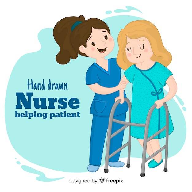 Hand drawn nurse helping patient Vetor grátis