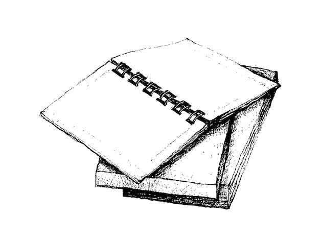 Hand drawn open notebook na pilha de livros Vetor Premium