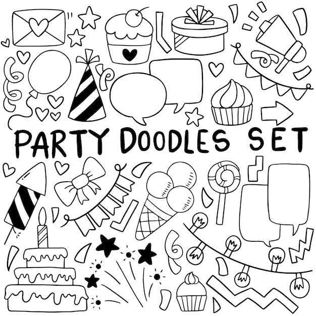 Hand drawn party doodle desenho de feliz aniversário Vetor Premium
