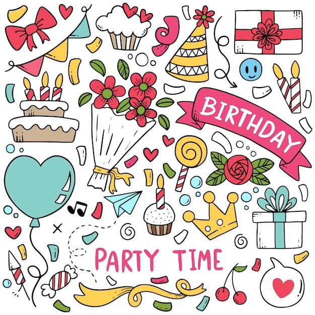 Hand drawn party doodle happy birthday padrão de fundo de ornamentos Vetor Premium