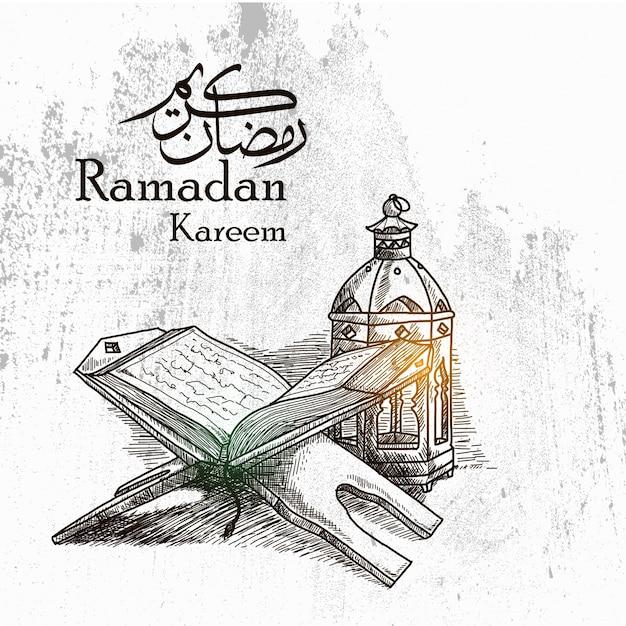 Hand drawn ramadan kareem background com lanterna tradicional e al quran Vetor Premium