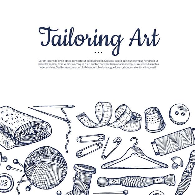 Hand drawn sewing elements ilustração de fundo com lugar para texto Vetor Premium