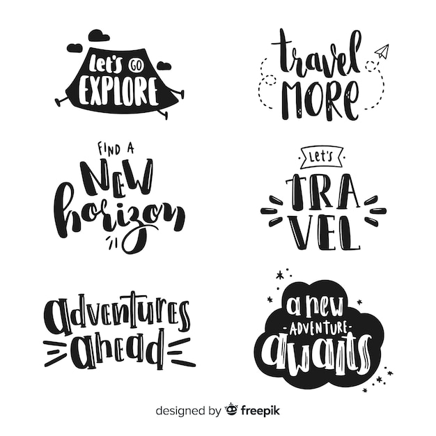 Hand drawn travel lettering emblemas Vetor grátis