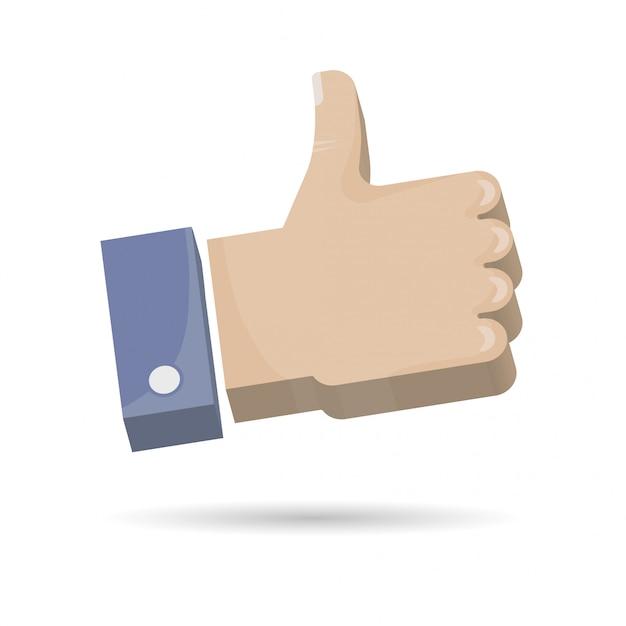 Hand thumb up icon ilustração 3d. Vetor Premium