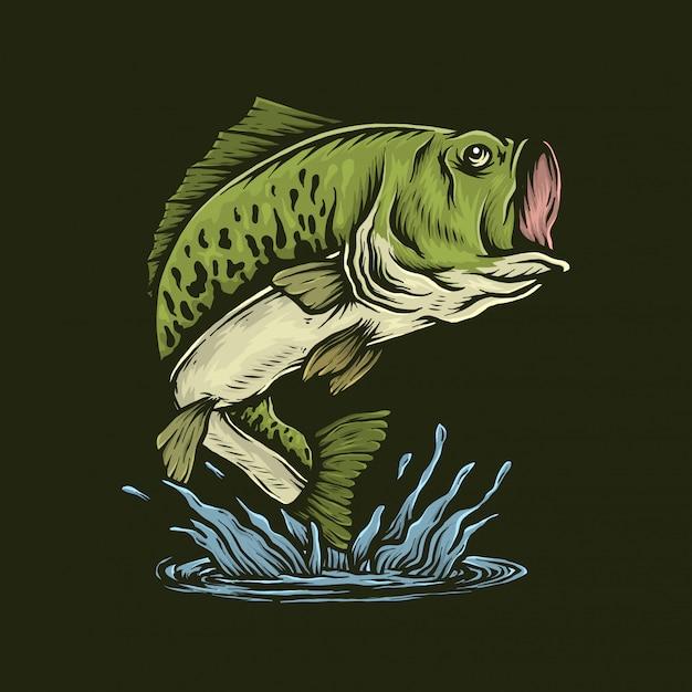Handdrawn baixo vintage peixe pulando ilustração vetorial Vetor Premium