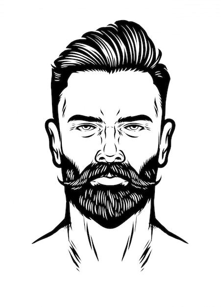 Handdrawn cabeça de homem com barba e pompadour penteado Vetor Premium