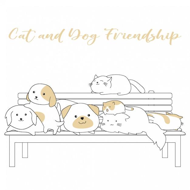 Handdrawn cute cat and dog amizade dos desenhos animados Vetor Premium
