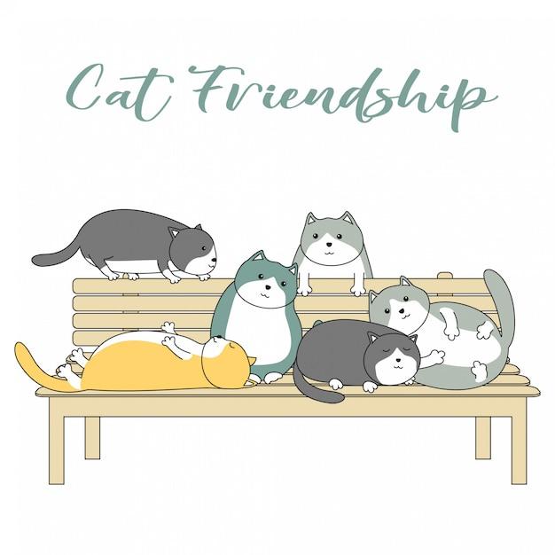 Handdrawn cute cat friendship cartoon Vetor Premium