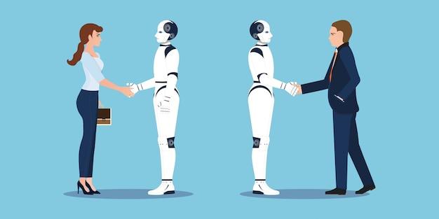 Handshake de negócios com negócios humanos e robô mãos tremem. Vetor Premium
