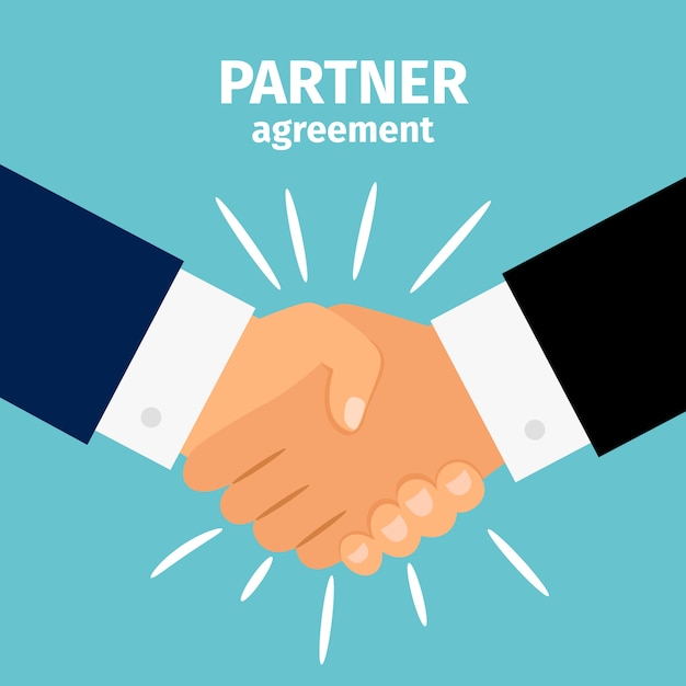 Handshake de parceria de negócios Vetor Premium