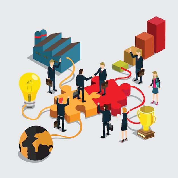Handshake de pessoas de negócios para o sucesso Vetor Premium