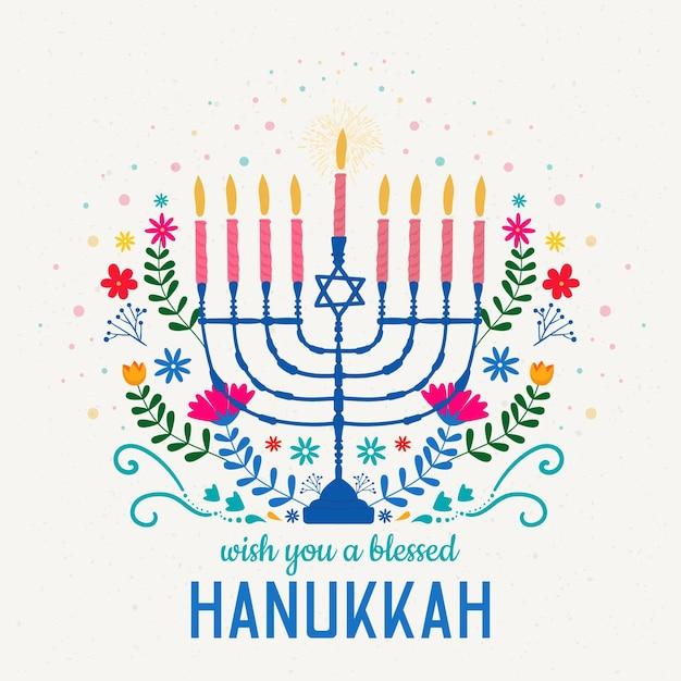 Hanukkah desenhado à mão Vetor grátis