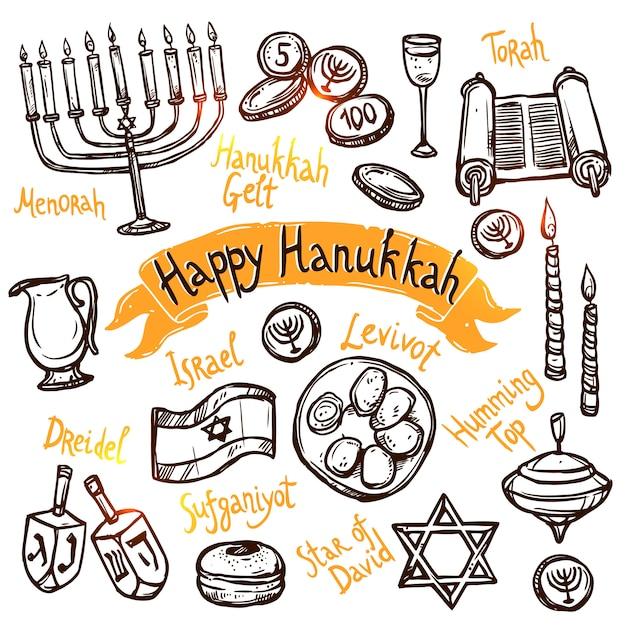 Hanukkah doodle set Vetor grátis