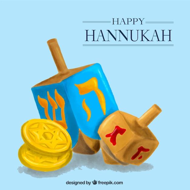 Hanukkah feliz com tops e moedas de fiação Vetor grátis