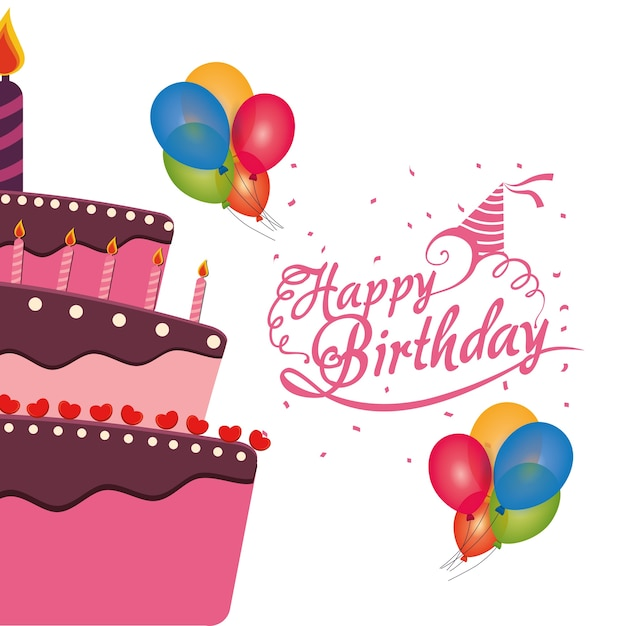 Happy Birthday Cake Balloons Confetti Celebracao Baixar Vetores