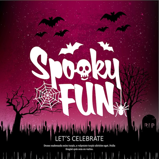 Happy halloween spookey divertido design criativo vector Vetor grátis