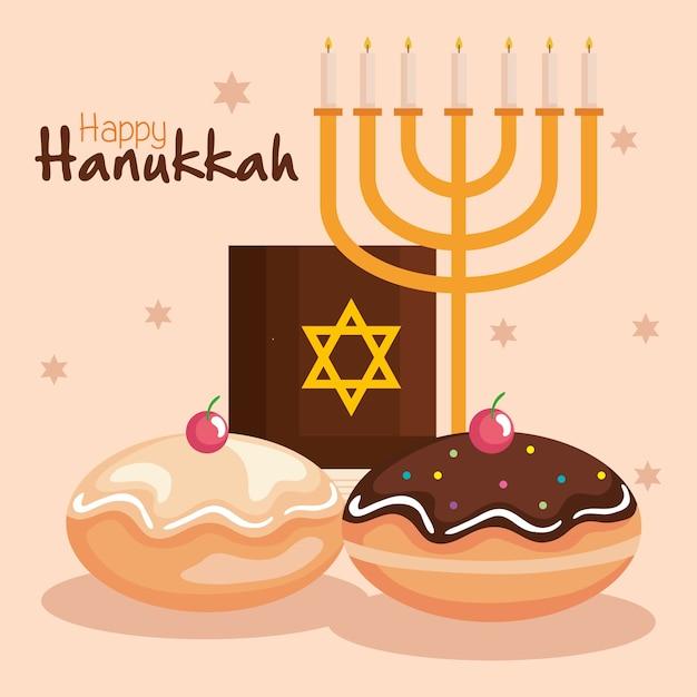 Happy hanukkah menorah torah e sufganiot design, feriado celebração festival de religião judaísmo Vetor Premium